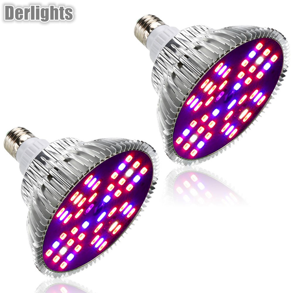 2pcs/Lot 48W Led Grow Light Full Spectrum E27 Led Plant Lamp AC85-265V Red Blue UV IR Hydroponics Grow Lamp For Indoor Plant