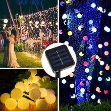 все цены на 7M Solar String Christmas Lights Outdoor 23 ft 50 LED 2Mode Waterproof Ball Garden Blossom Lighting Party Home Decoration онлайн