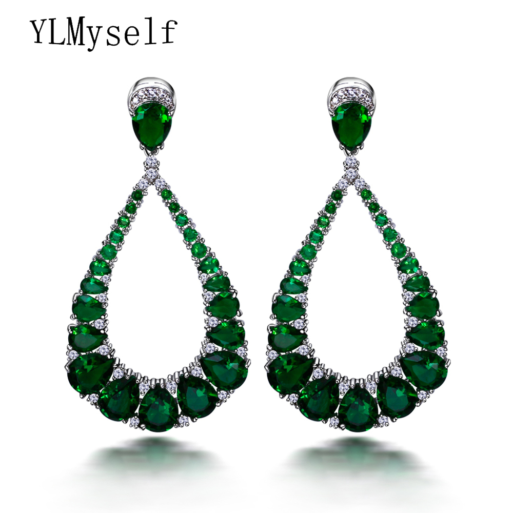 Professional party jewelry supplier Long shape with 3A Red & Green Water drop cubic zirconia stones Large Dangle earrings