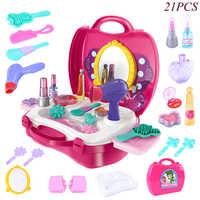 Juego de simulación de maquillaje para niños, secador de pelo, Perfume, chica, bolso para maquillaje, juguetes de simulación, utilería de teatro