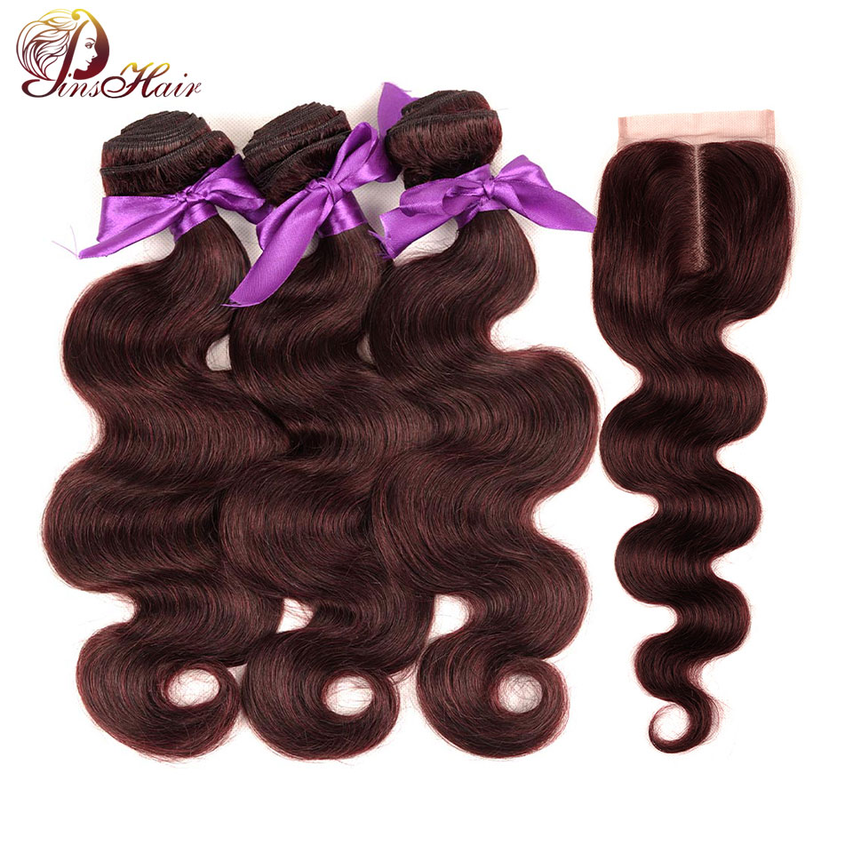 Рыжие волосы объемная волна Связки с закрытием бордовый Связки перуанский волос 3 Связки ...