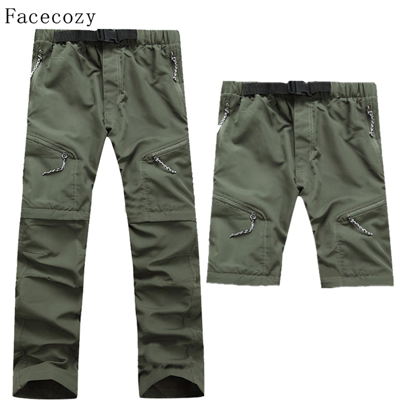 Facecozy Men Summer Removable Pants Outdoor Quick Dry Pants UV Protection Pants Breathable Fishing&Hunting Pants Male Plus Size