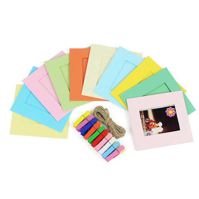 FAI DA TE Mini Paper Photo Frame Con Mini Colorato Mollette E Spago-Fit Instax Mini Film per la memorizzazione di preziose foto