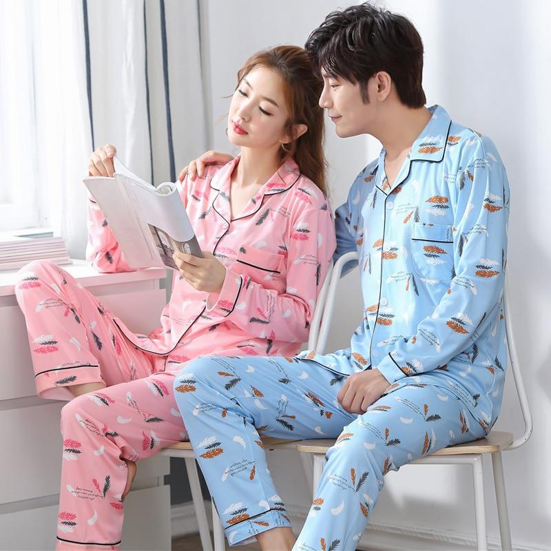 Autumn Winter Pyjama Loose Men Style Couple Pijama Set Sleepwear Top+ Pants Young Lovers Pajamas Sets Women Nightwear Indoor
