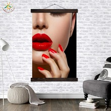 Red Lip Sexy Lady Modern Canvas Art Prints Poster Wall Painting Scroll Artwork Pictures Home Decor for Bedroom