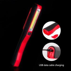 Image 2 - COB LED Flashlight Emergency Working Light With Magnet Pocket Clip Camping Light Built In Battery Multi purpose LEDs Penlight