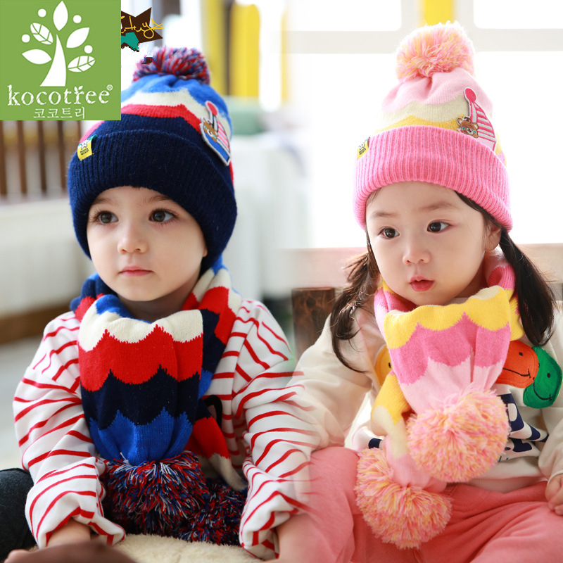 Kocotree 2018 New 2pcs/lot Girls Winter Hat &Scarf For Children Winter Scarf & Hat For Boys Beanie Hats For Girls Scarves
