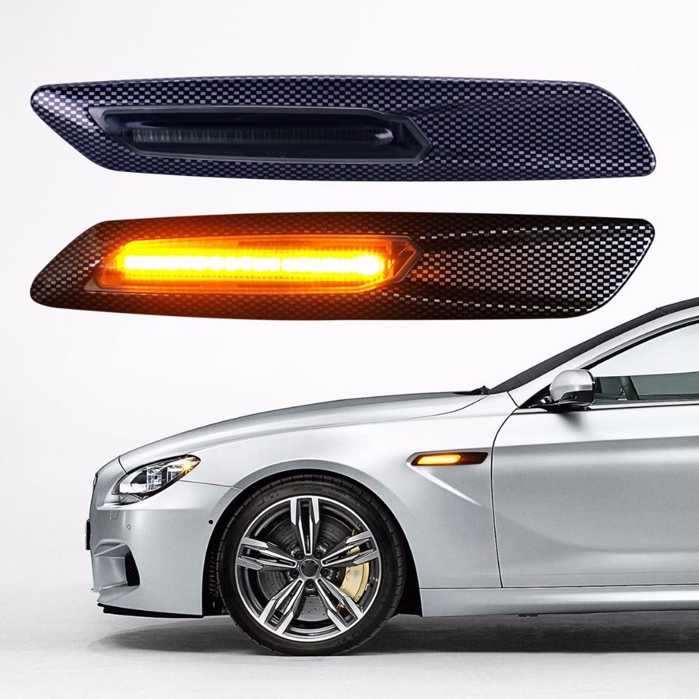 2Pcs Carbon Fiber Paper Car-styling LED Light Fender Turn Signal Lamp for BMW E46 E82 E87 E88 E90 E91 E92 E60 E61 Accessories 2pcs set led license plate light error free for bmw e39 e60 e61 e70 e82 e90 e92 24smd xenon white free shipping
