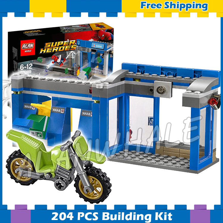 204pcs Super Heroes Spider-Man ATM Heist Battle Bank Getaway Bike 07089 Model Building Blocks Gifts Sets Compatible With lego