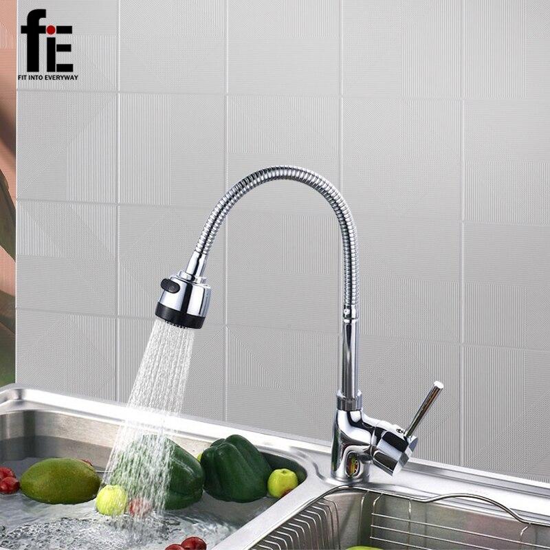 FIE твердая латунь Кухня смеситель холодной и горячей Кухня нажмите на одно отверстие водопроводной воды Кухня кран Torneira Cozinha