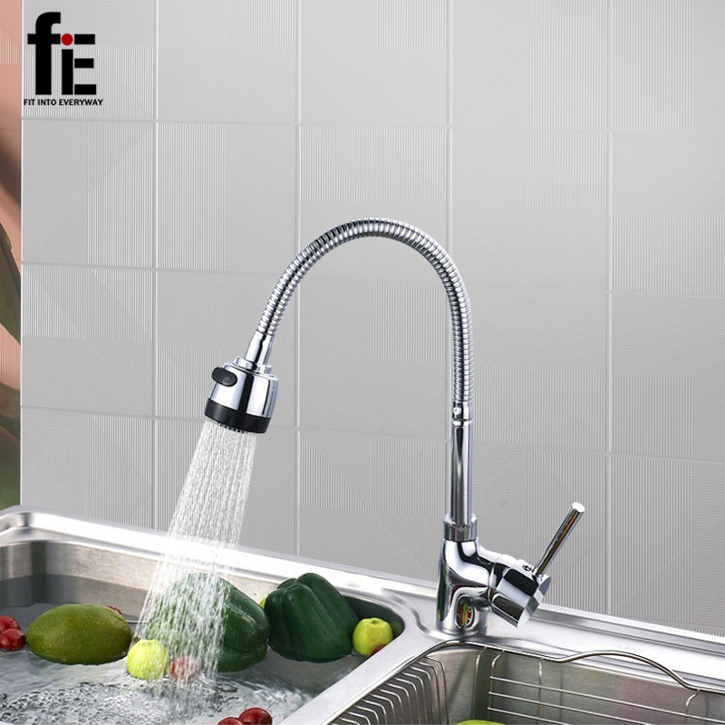 fiE Solid Brass Kitchen Mixer Cold and Hot Kitchen Tap Single Hole Water Tap Kitchen Faucet Torneira Cozinha classic pull out kitchen mixer tap of single handle single hole kitchen faucet with hot cold solid brass kitchen sink water tap