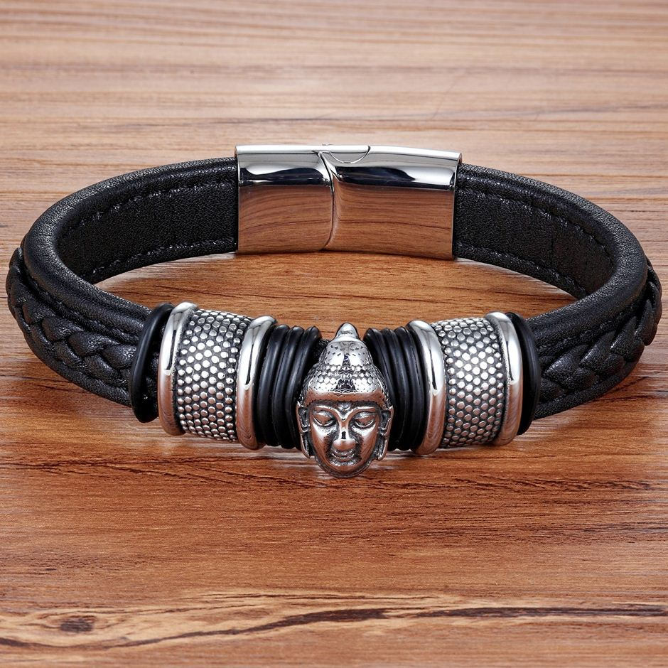 XQNI Genuine Leather Bracelet & Bangle Buddha Head Accessories with Stainless Steel for Blessing Men Bracelet Lucky Jewelry