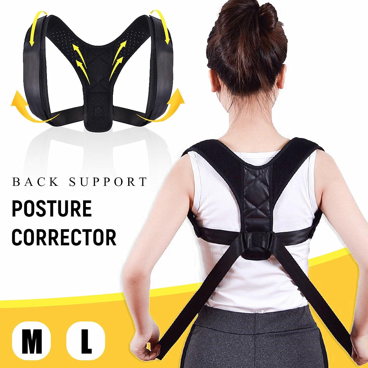 Adjustable Back Posture Corrector Correction Clavicle Spine Back Shoulder Lumbar Brace Support Belt Prevent Slouching M/L