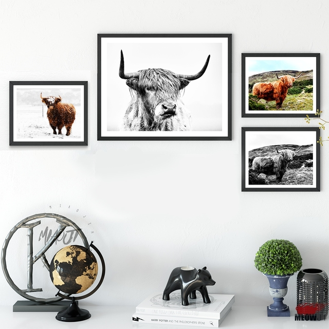 Posters Wall Art Printed Canvas Painting For Living Room Decoration  Portrait Highland Cow Yak Photography Wall