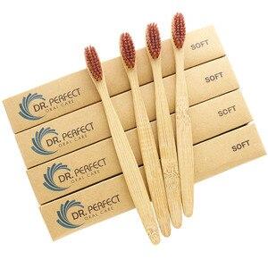 Image 3 - DR.PERFECT 100 ピース/ロット 3 色毛木製ソフト環境にやさしい竹歯ブラシソフト毛木製ハンドル