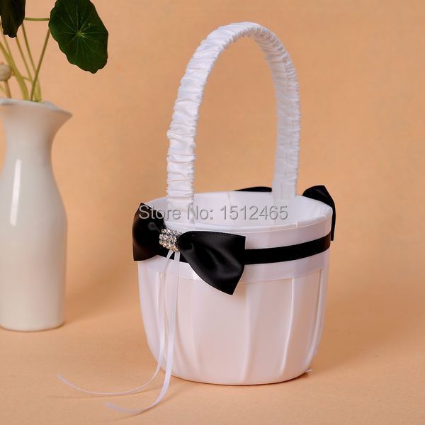White and black crystal bowknot satin wedding flower girl basket white and black crystal bowknot satin wedding flower girl basket party wedding decorations ws47 in party diy decorations from home garden on mightylinksfo