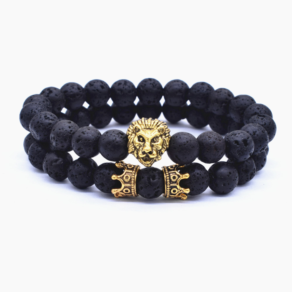 2 Pcs / Set Vintage Lion Head and Crown Charm Bracelet 8mm Natural Lava Stone Beads Bracelet Men 2019 Fashion Jewelry