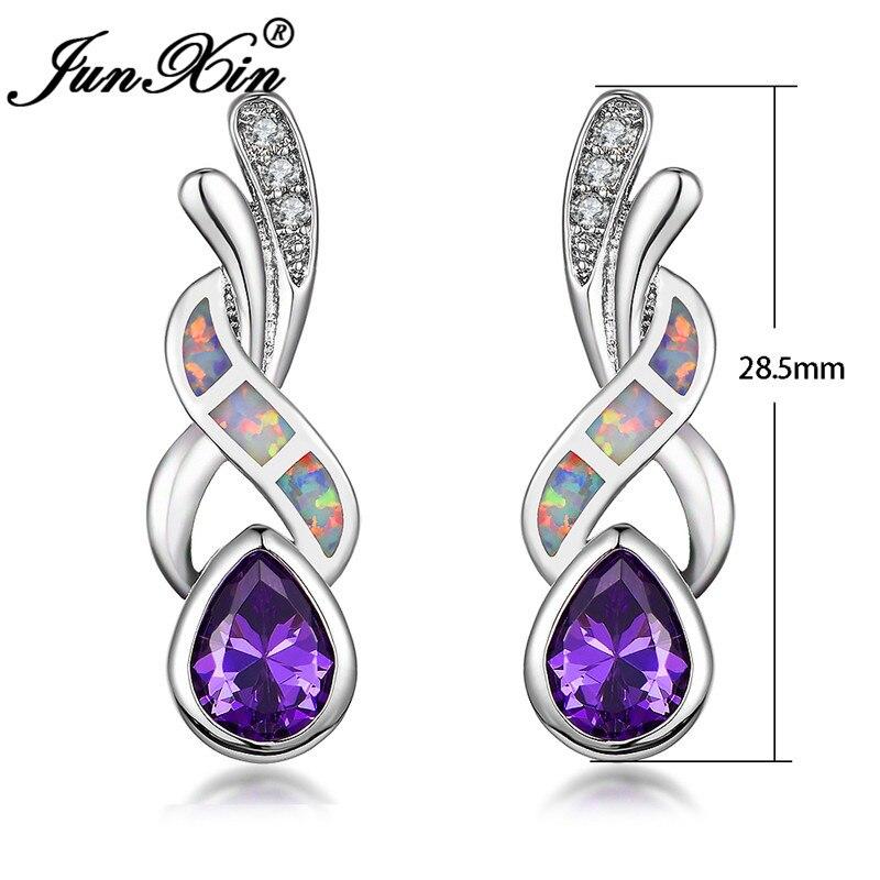 JUNXIN Purple White Blue Fire Opal Earrings Female White Gold Filled Teardrop Pear Zircon Pink Crystal Stud Earrings For Women