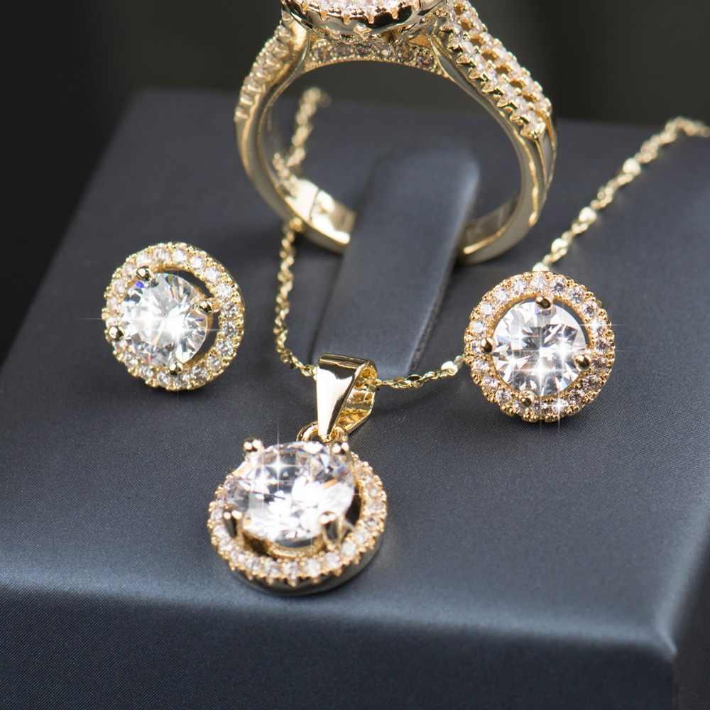 90% הנחה חתונה תכשיטים עבור כלות AAAAA זירקון CZ סט זהב צבע עגילי טבעת שרשרת תכשיטי כלה