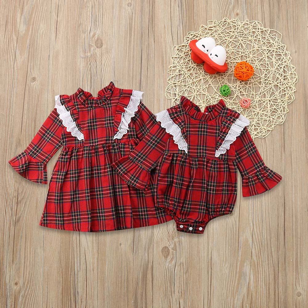 TELOTUNY Toddler Baby Girls plaid dress Sister long sleeve fashion Long Sleeve red Lace Dress Outfit Dresses Clothes Z1024 plaid