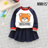 Baby Girl Spprts Clothes Boy Longsleeve Pants Sets Kids 2PCS Coat Children Cute Cartoon Bear Outfits