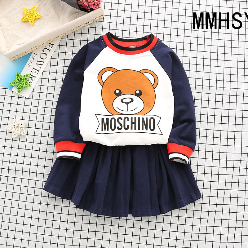 MMHSY Baby girl clothes Baby Boy clothes Sets kids 2PCS coat Pants children Cute Cartoon bear outfits for Children Clothing dres