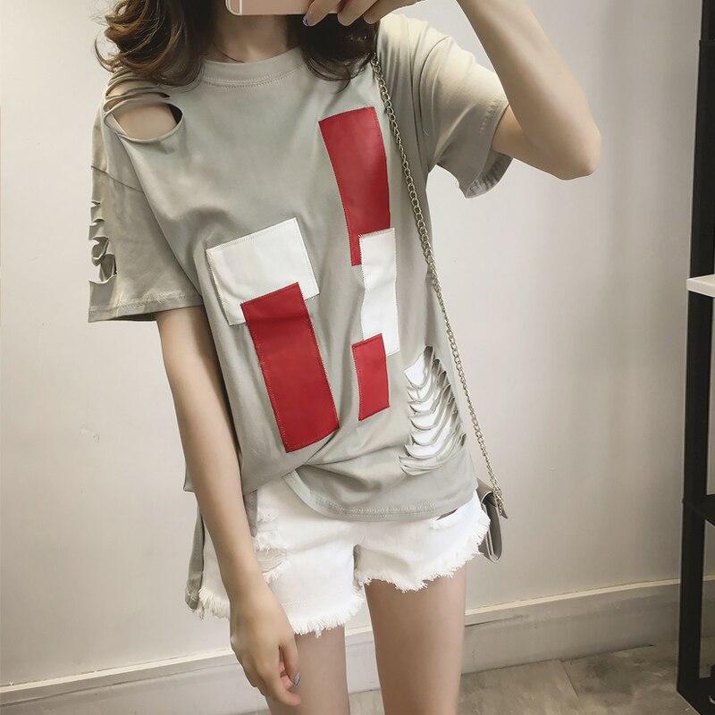 3fadca18abf2e 4xl más tamaño grande blusas feminina primavera verano estilo 2017 Corea  moda mujeres camiseta agujero Loose t-shirts Mujer a0694