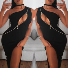 Новое модное женское летнее платье, сексуальное облегающее платье на одно плечо на молнии, сексуальное женское платье с разрезом, вечерняя Клубная одежда