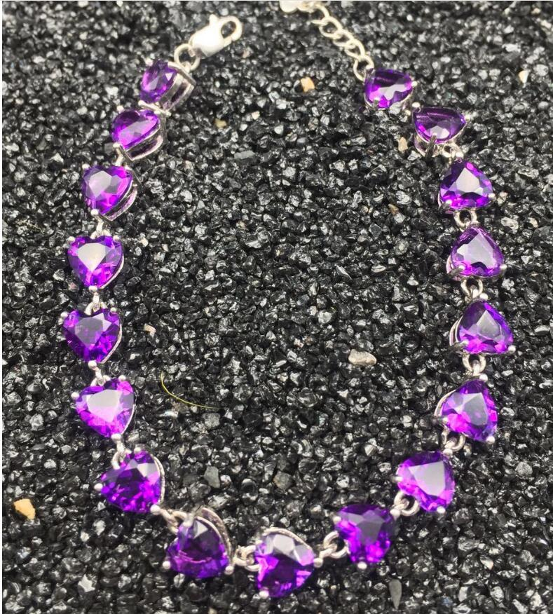 Chain bracelet Natural real amethyst 925 sterling silver Fine jewelry Purple gems