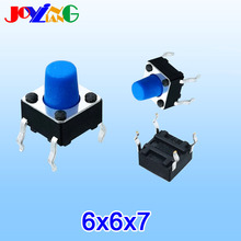 JOYING LIANG Blue 6*6*7MM Vertical Four-foot Touch Switch 4-foot Toy Accessories 6x6x7 Copper Foot 10pcs/lot