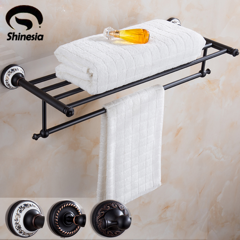 Oil Rubbed Bronze Solid Brass Double Towel Rack Bath Towel Holders Bathroom Accessories ceramic oil rubbed bronze crystal hanger towel rack holder single towel bar new