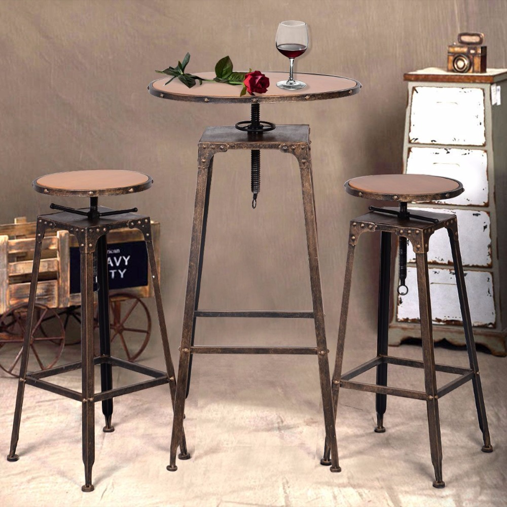 Antique metal high chair - 3pc Industrial Vintage Metal Design Bistro Set Adjustable High Bar Chair Antique Hw51127 China