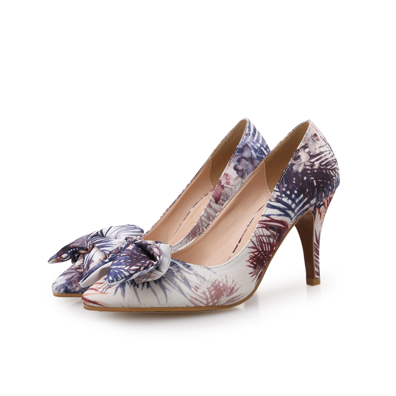7fc156fed6 Jiabaisi shoes Women pumps Pointed toe Jacquard Fabric Bowknot pumps 2  inches and 3 inches heel Spring Autumn heel Shoes-in Women's Pumps from  Shoes on ...