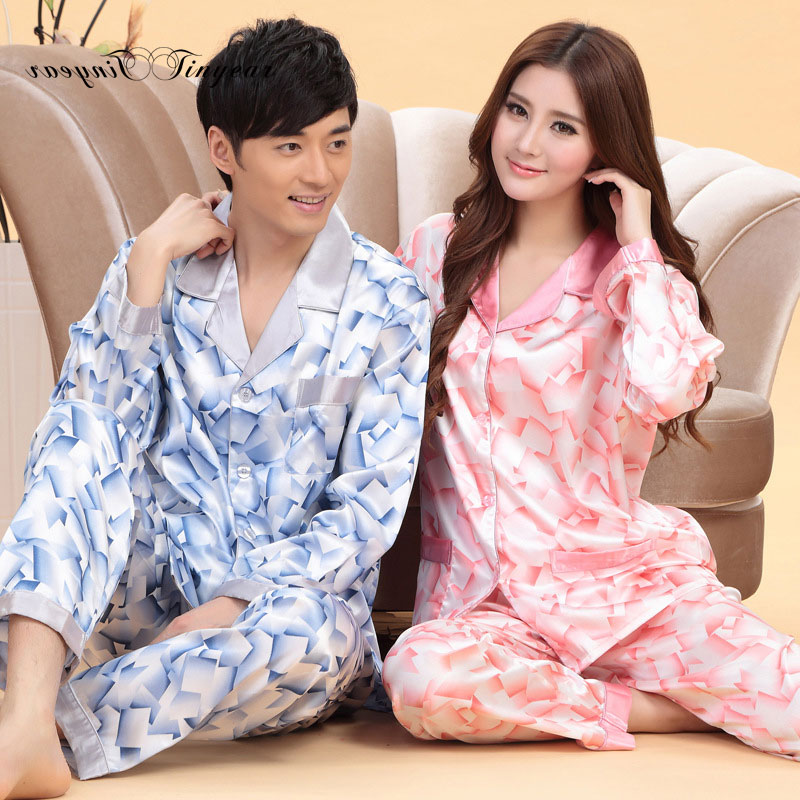 af8f06d9b In stock women night suit sleepwear pajama set full sleeve v neck couples  pajamas set breathable silk nightwear set-in Pajama Sets from Underwear ...