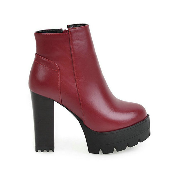High Heel Ankle Boots Fashion Zipper