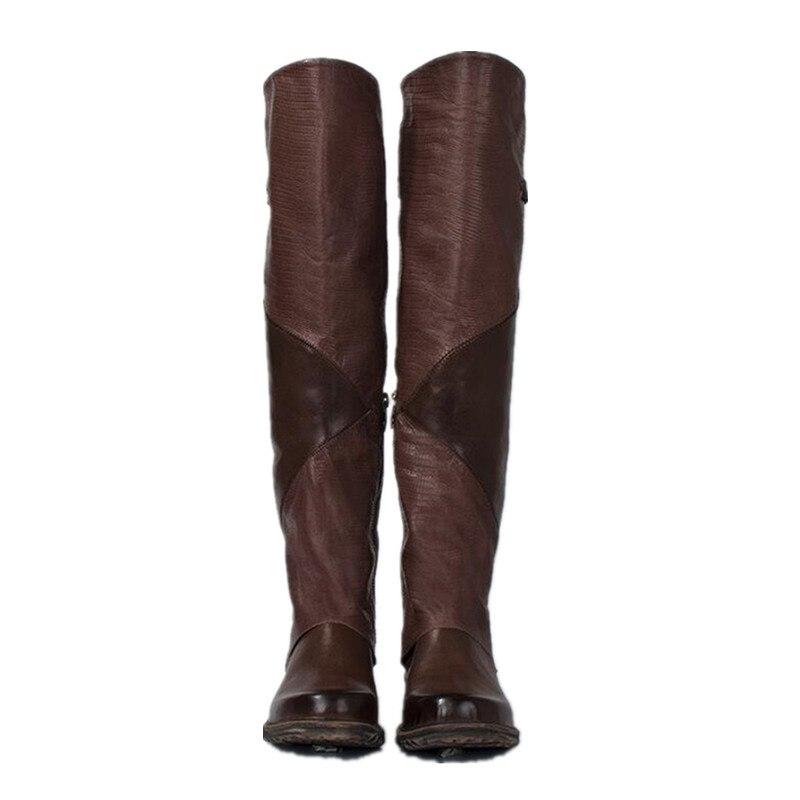 Haute Cowboy Moto Chaussures Femme marron Bottes Genou En Nouveau Boucle Femmes Rétro Véritable Appartements Cuir Militaire Mabaiwan Noir Mode xYEBw4qHW