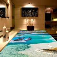 Free shipping waterproof home decoration children room floor mural wallpaper 3D Dolphin Falls bathroom Background Wall