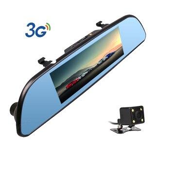 3G Car DVR 7 inch Android 5.0 Dual Lens dash Camera Rearview mirror FHD 1080P video recorder Bluetooth WIFI FM GPS ROM 16GB