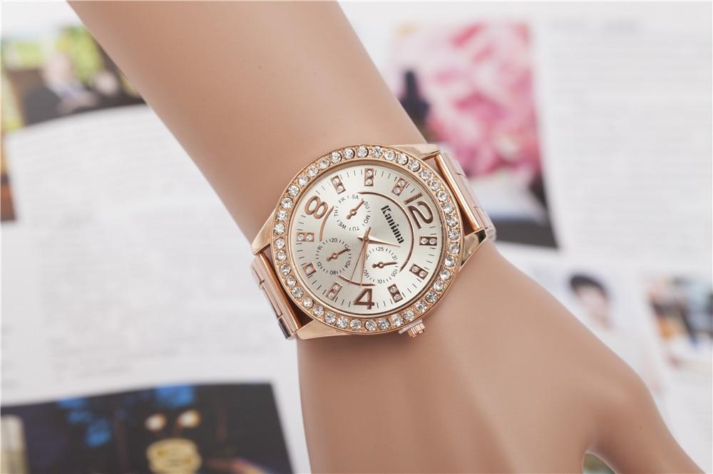 56e413721008 Moda para mujer subió reloj de plata dorado con el Rhinestone mujer relojes  de acero inoxidable Dial grande Casual pulsera de cuarzo hodinky en Relojes  de ...