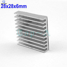 100шт 28x28x6mm теплоотвод прессовал алюминиевый радиатор радиатор охлаждения плавник 28*28*28*6мм
