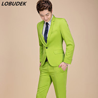 (jacket+pants) Korean Style Men's Casual Suits Green Yellow Purple Pink Blue Slim Blazers 2 piece sets Star Singer Stage Outfit