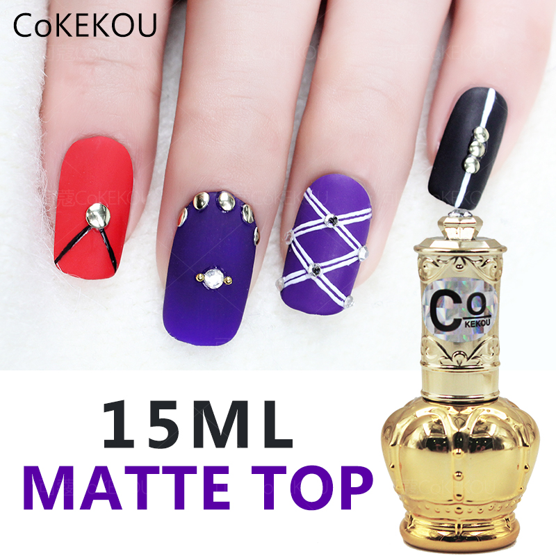 CoKEKOU 15ml matte coat reinfor gel no wipe top coat Tempering top coat base soak off color gel nail polish UV gel lacquer in Nail Gel from Beauty Health