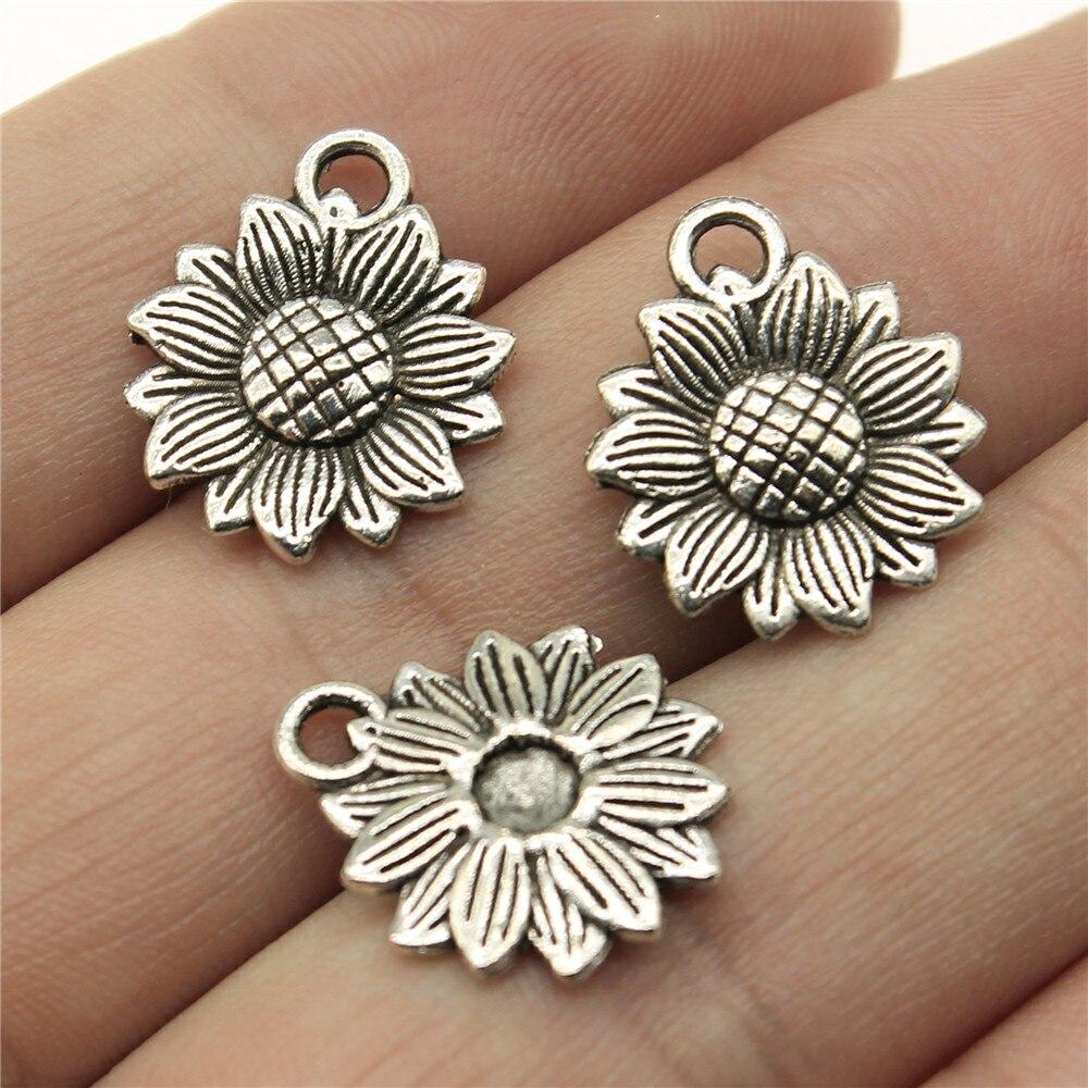 WYSIWYG 12pcs 18x15mm Sun Flower Pendants Sunflower Flower Charm Pendants Sunflower Pendants For Jewelry Making