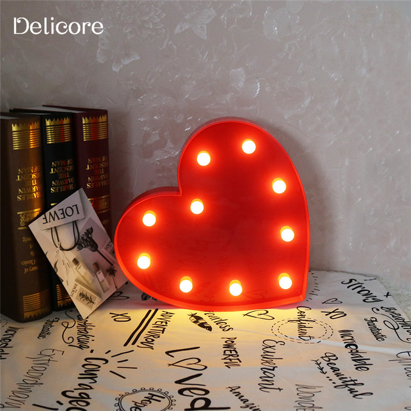 DELICORE Romantic Indoor Decorative Nights Lamps 3D Love Heart Marquee Letter LED Night Light Wedding Party Decoration S011-1 3d led lamp usb night love heart