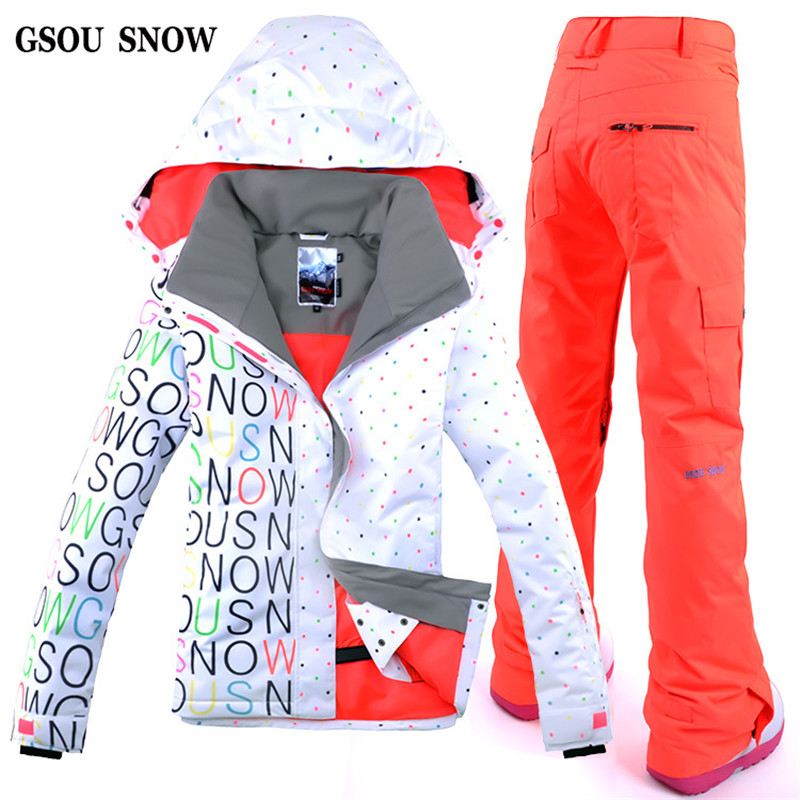 GSOU SNOWEnglish Letters Style Women's Ski Jacket Pant Snowboarding Suit for Female Outdoor Winter Thermal Clothing on Hot Sales