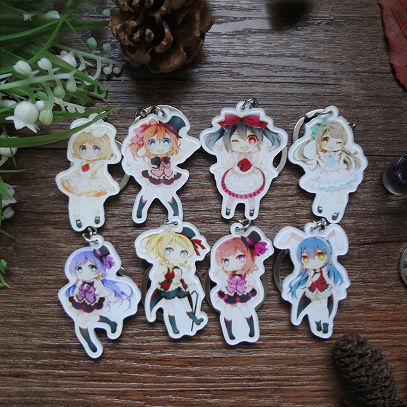8pcs/set Anime LoveLive!Royal Girls Matress Hanayo Rin Umi Maki Keychains Pendant llavero Portachiavi Gift Present Collection