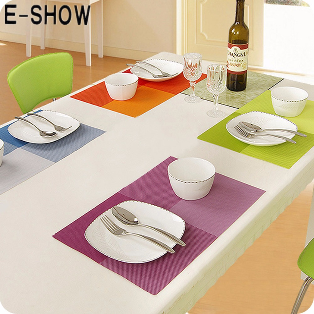 Dining table accessories - E Show 1pcs European Style Dining Table Mat Dinner Placemats Waterproof Table Cloth Kitchen Bar Accessories Tools 8 Colors