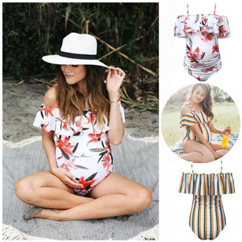2019 Novo Quente de Verão Moda Feminina Sexy Lady Mulheres Gravidez Maternidade Ruffle Swimwear Bikini Monokini Swimsuit Fato de banho