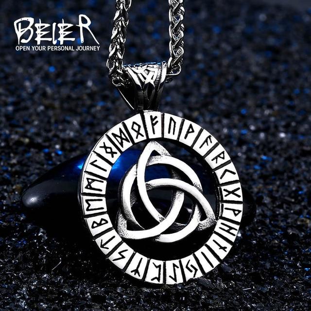 Beier Thor Hammer Mjolnir Viking pendant necklace Amulet Hammer Scandinavian kolye Norse Men Jewelry free shipping BP8-168