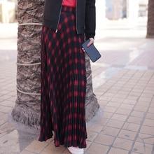 Womens Vintage Elastic Waist Women Long Pleated Skirts High Waist Ladies Skirts  Length Women Maxi Skirts Faldas Saia 2017